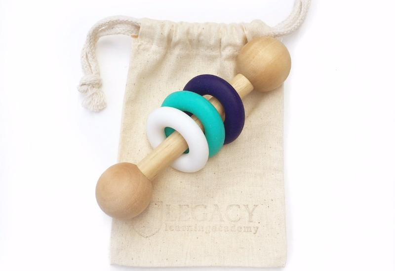 best handmade baby gifts blue teal wood rattle for babies