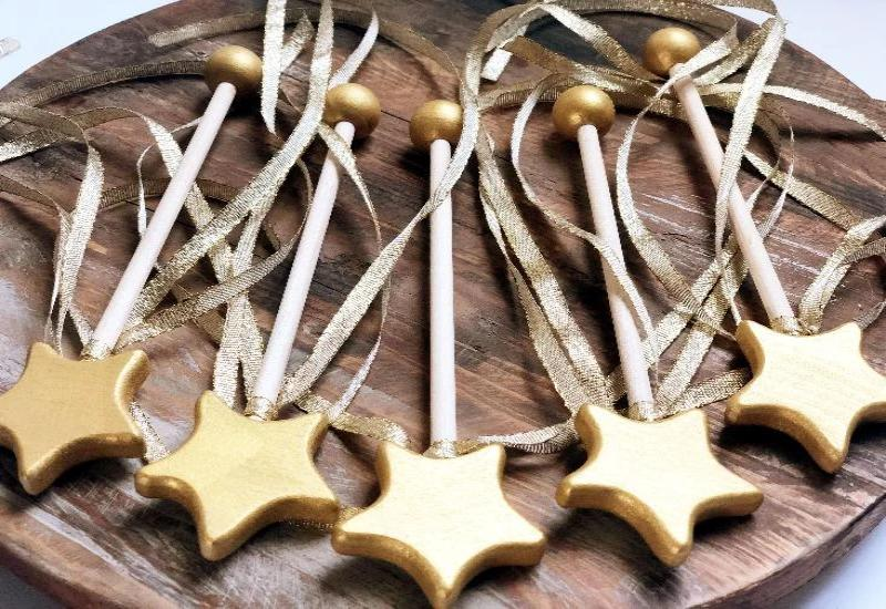 painted gold wood princess wands for little girls party favors and dress up