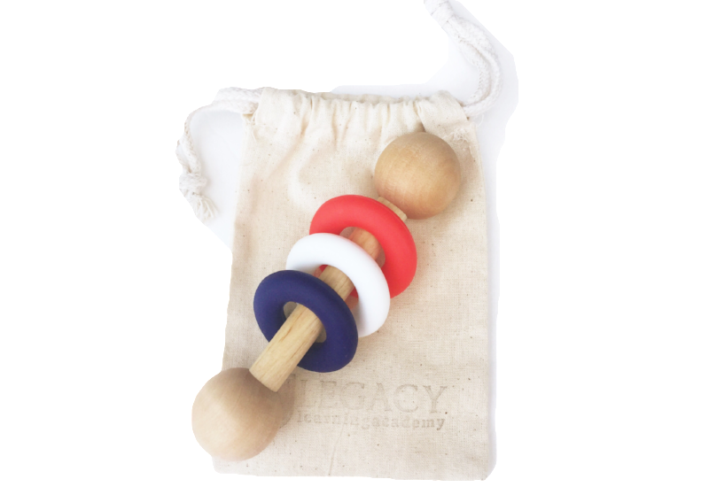 Magic Rattle - Red, White, & Navy Blue
