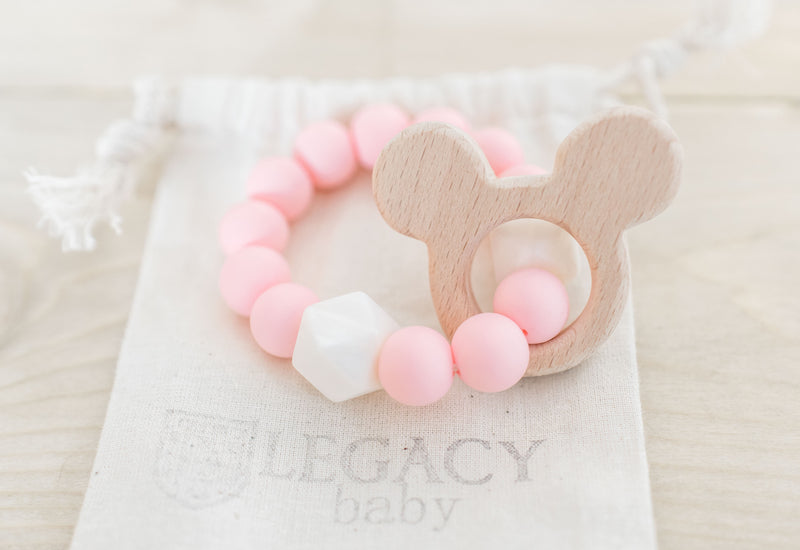 pink and white minnie mouse baby toys teething ring