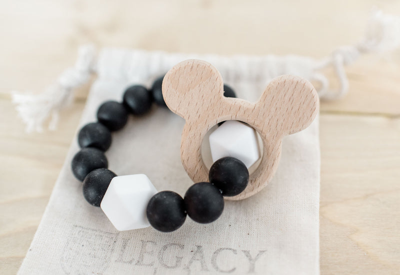 black white monochrome mickey mouse teething toy for babies
