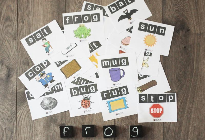 Chalkboard Blocks w/ Rhyming Words Cards