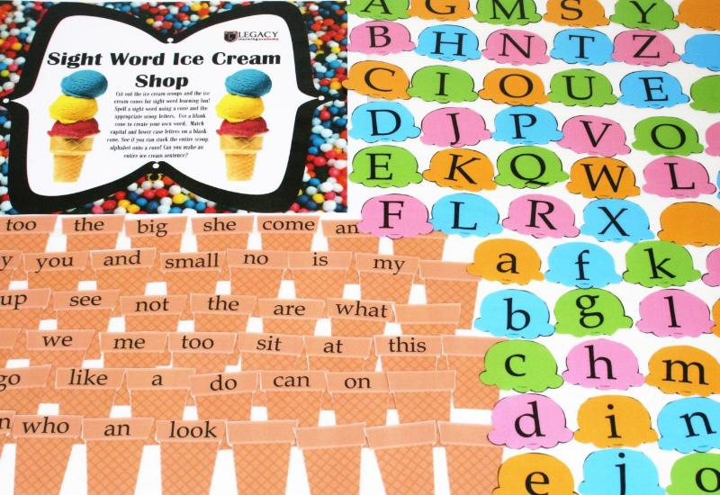 Ice Cream Shop - Sight Words