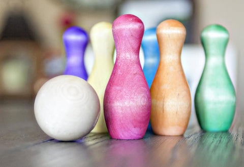 Table Top Bowling Set - Watercolor Rainbow
