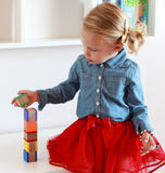 Wooden Building Blocks - Rainbow - Set of 6