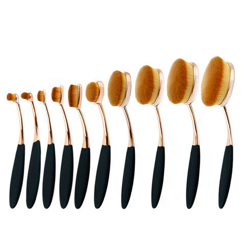 Gold Obsidian 10 Piece Oval Brush