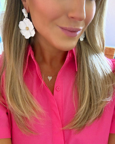 StephieChic White Flower Earrings
