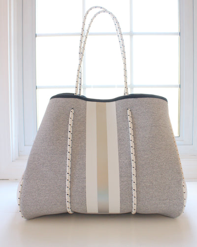 Light Gray & White/Silver Stripe Neoprene Tote