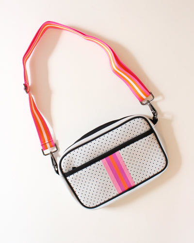 White and Pink/Orange Stripe Neoprene Crossbody