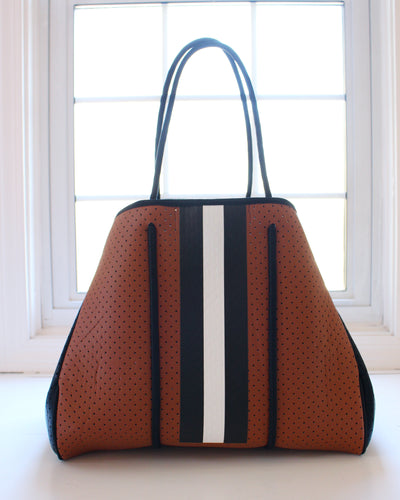 Camel & Black/White Stripe Neoprene Tote