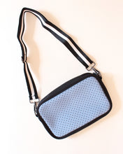 Light Blue & Black/White Stripe Neoprene Crossbody