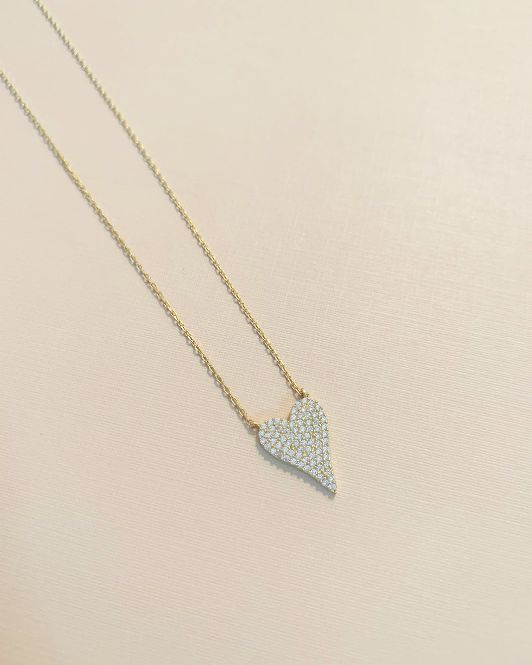 Steph Small Heart Rhinestone Necklace