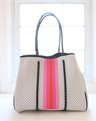 White & Pink/Orange Stripe Neoprene Tote