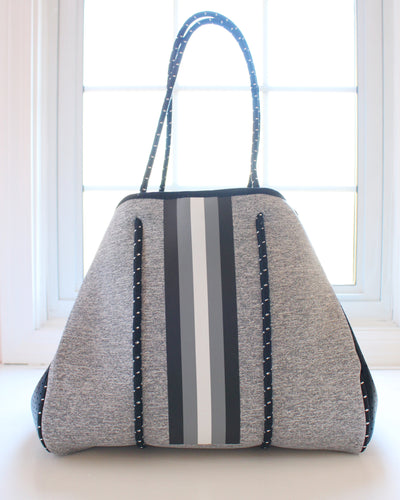 Gray & Black/White Stripe Neoprene Tote