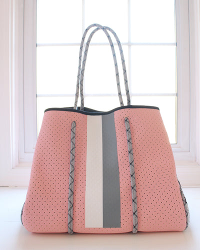 Light Pink & White/Gray Stripe Neoprene Tote