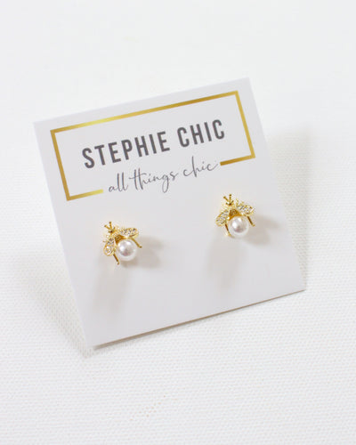 Charity Collection: Bee & Pearl Stud for The MW Fund