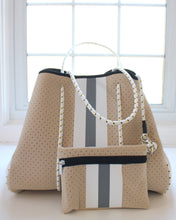 Sand & White/Gray Stripe Neoprene Tote