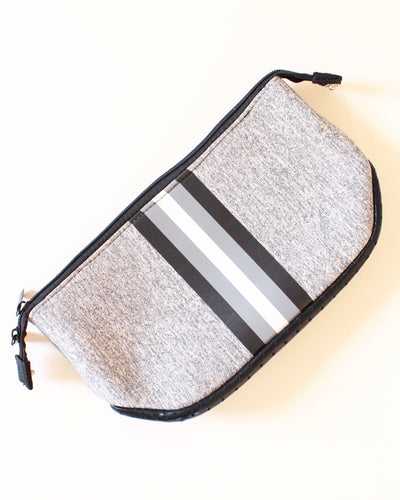 Gray & Black/White Stripe Neoprene Travel Bag