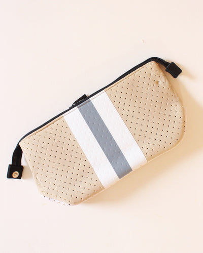 Sand & White/Gray Stripe Neoprene Travel Bag