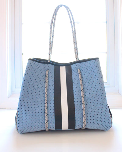 Light Blue & Black/White Stripe Neoprene Tote