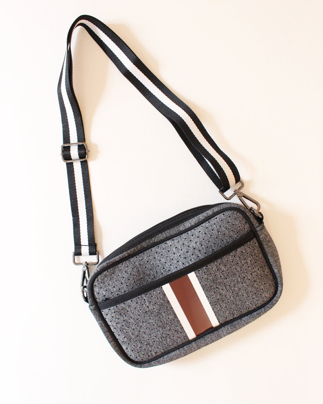 Gray & Maroon/White Stripe Neoprene Crossbody