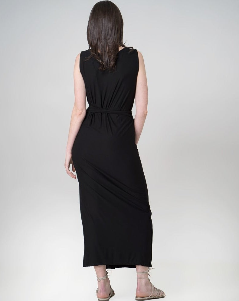 Aja Wrap Dress Dress Indecisive Back View Black Australian Made Organic Bamboo Sustainable Fashion eco friendly