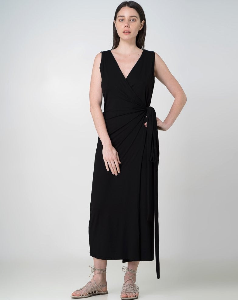 Aja Wrap Dress Dress Indecisive  Front View Black Australian Made Organic Bamboo Sustainable Fashion eco friendly