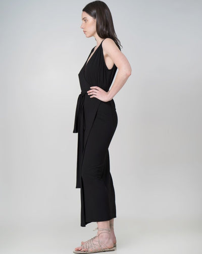 Aja Wrap Dress Dress Indecisive  Side View Black Australian Made Organic Bamboo Sustainable Fashion eco friendly