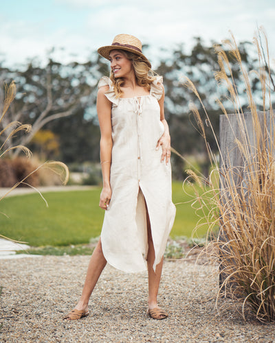 Bessie Dress Sand Linen