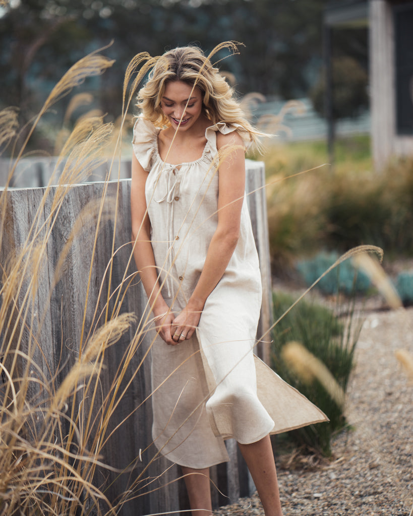 Linen Bessie Dress Sand