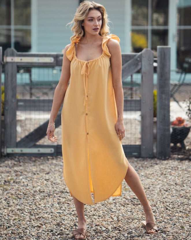 Linen Bessie Dress Yellow