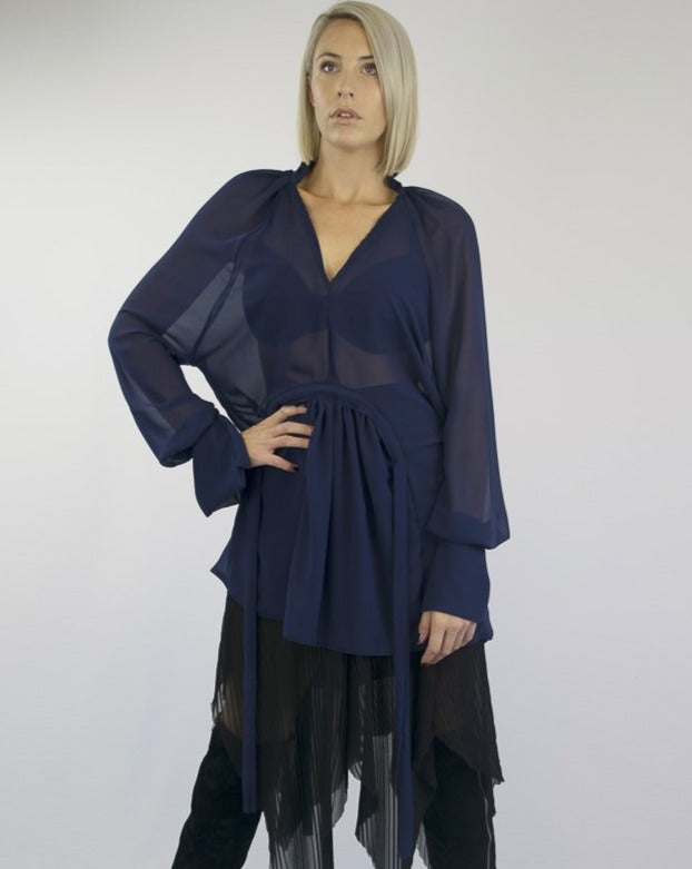 Cauli Oversized Top Australian Made Indecisive Eco Friendly Sustainable Ethically Made Women Clothing Organic Bamboo Cotton GOT Certified Fashion Sheer Navy 4