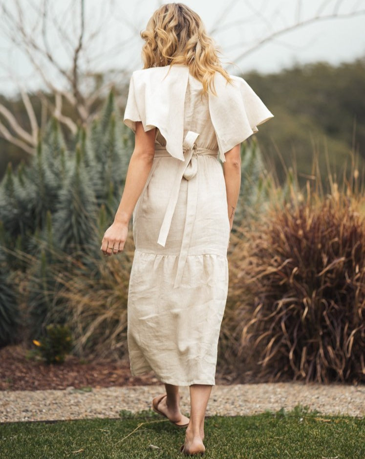 Sand Australian Handmade Premium Linen V-Neck Full Length Tiered Dress with Cape Sleeves & Elastic Waist Boutique Designer Summer Casual Cocktail