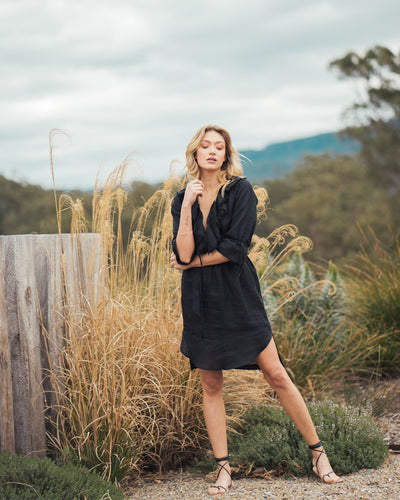 Frankie Dress Black Linen