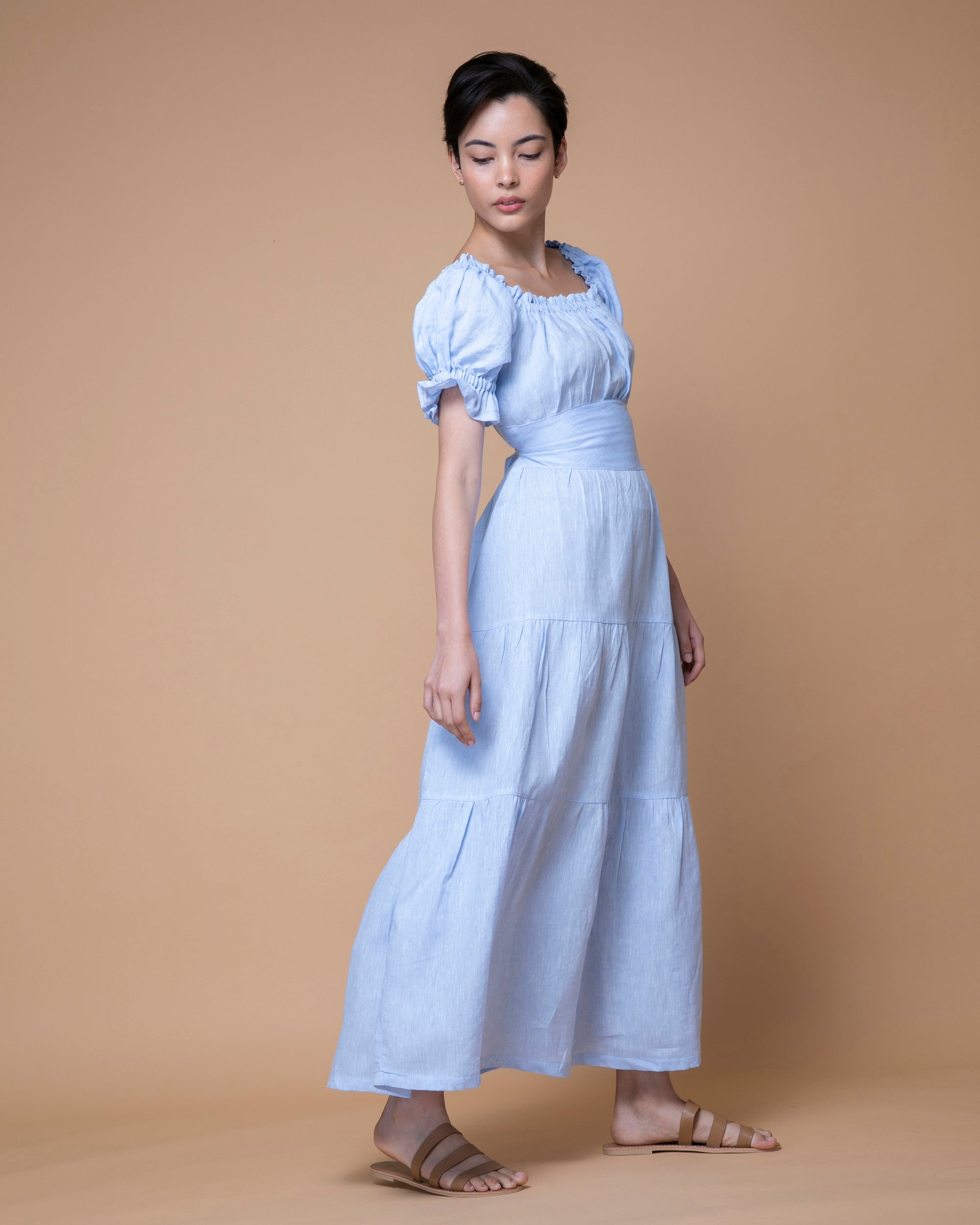 Light Blue Australian Handmade Premium Linen Elastic Neckline Square Neck Full Length Tiered Dress with Off Shoulder  Sleeves & Detailed Waist Boutique Designer Summer Casual Cocktail