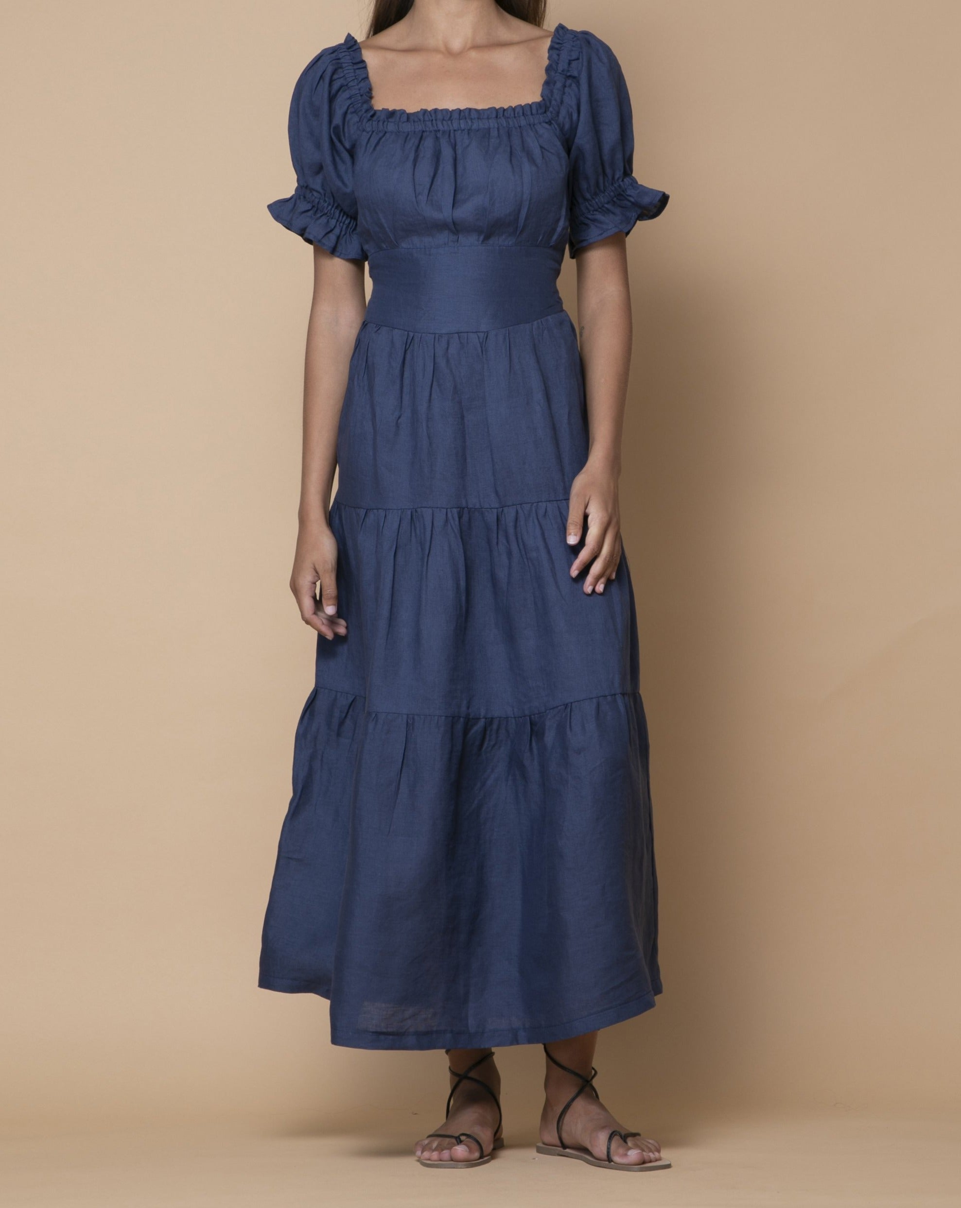 Navy Levis Australian Handmade Premium Linen Elastic Neckline Square Neck Full Length Tiered Dress with Off Shoulder  Sleeves & Detailed Waist Boutique Designer Summer Casual Cocktail