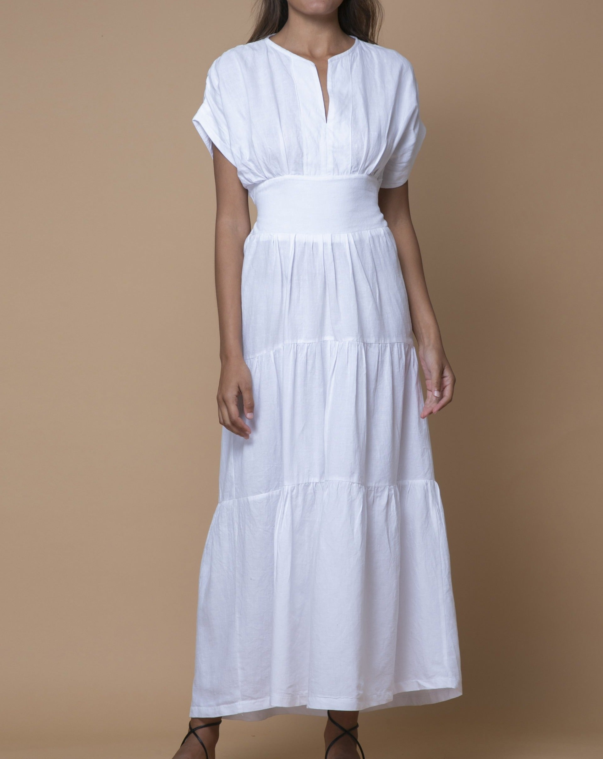 White Australian Handmade Premium Detailed Panel V-Neck Full Length Tiered Dress with Short Sleeves & Detailed Waist Boutique Designer Summer Casual Cocktail