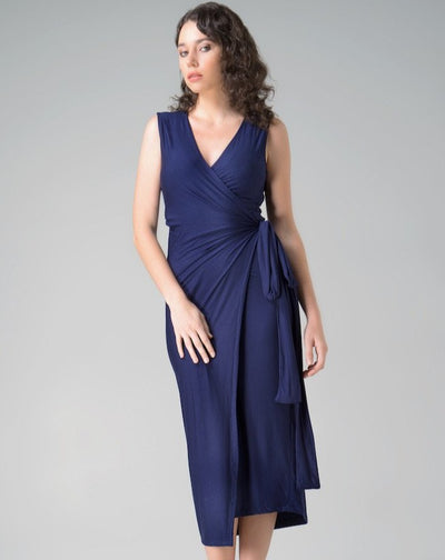 Aja Wrap Dress Dress Indecisive  Front View Navy Australian Made Organic Bamboo Sustainable Fashion eco friendly