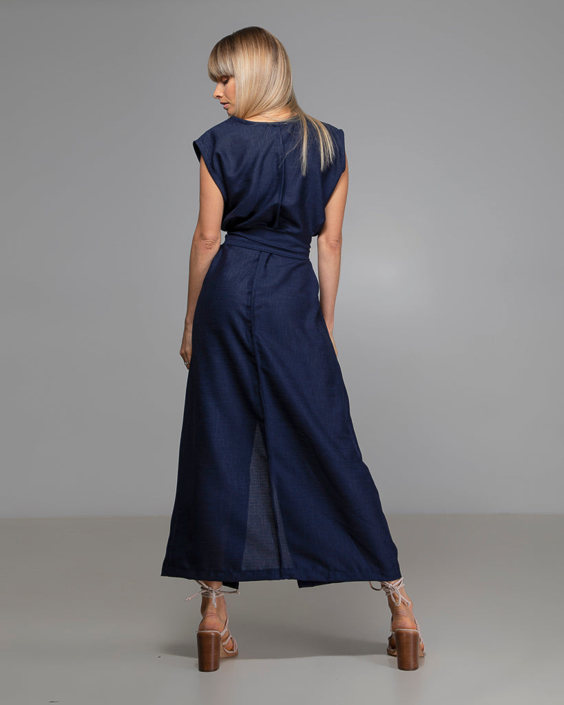 Navy Australian Handmade Premium Linen V-Neck Dress Boutique Designer Summer Casual Cocktail