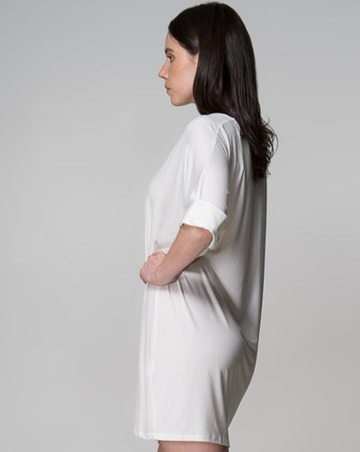 MM Top Indecisive Side 2 View White Australian Made Organic Bamboo Sustainable Fashion eco friendly