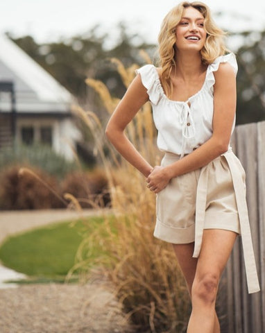 Linen Bamber Dress Tan