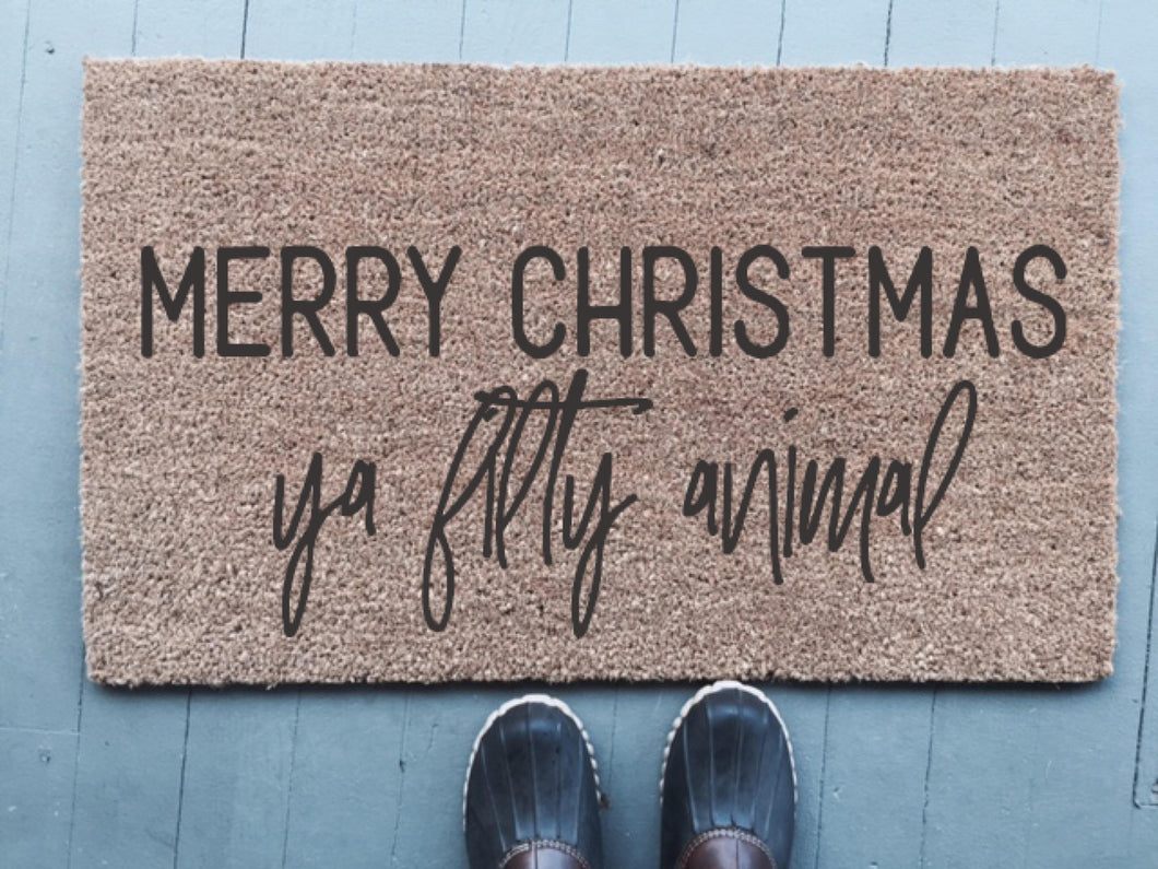 Merry Chrsitmas Ta Filthy Animal|Doormat