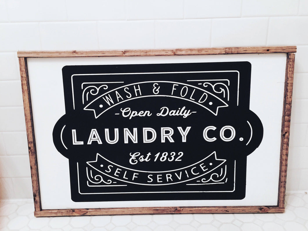 Wash and Fold Laundry Co|Wood Sign