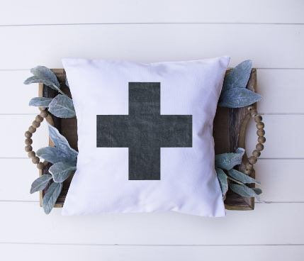 Swiss Cross|Pillow Cover|Distressed