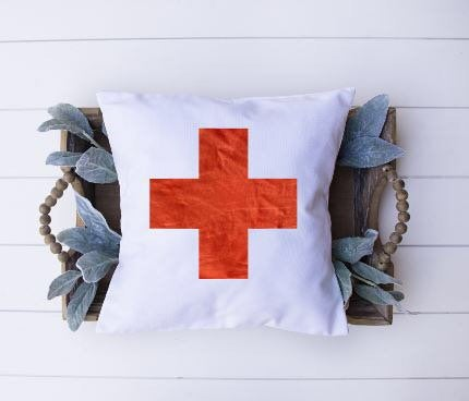 Swiss Cross|Pillow Cover|Distressed Red