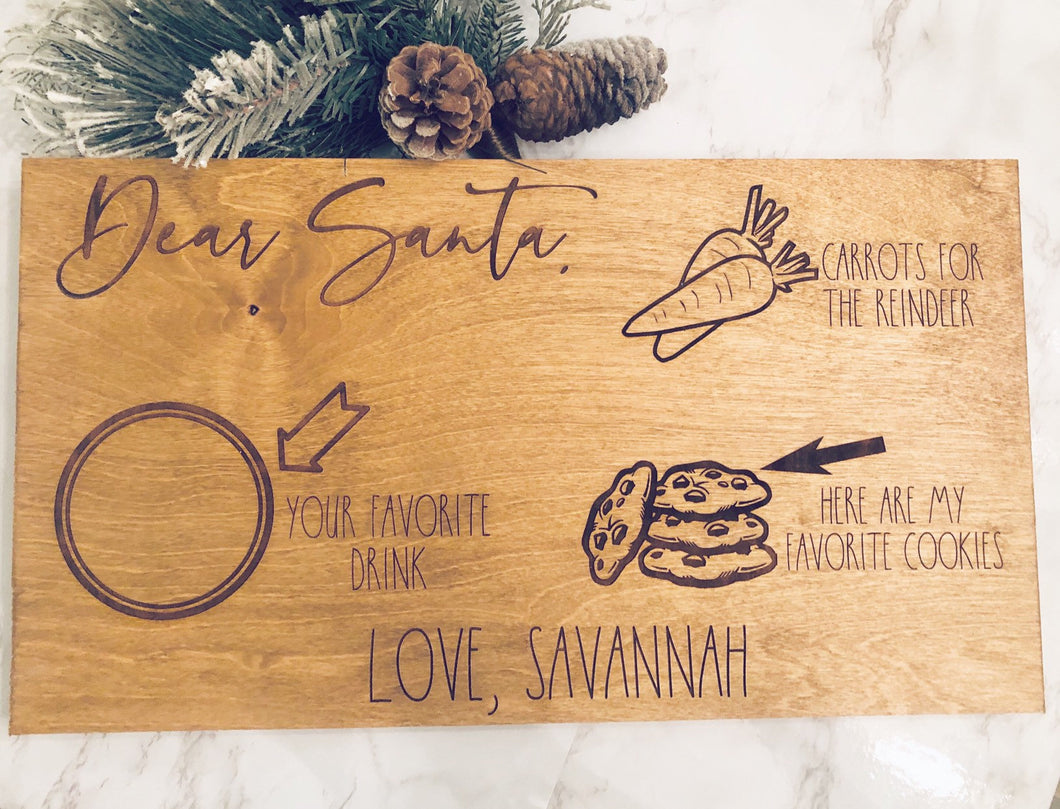 Dear Santa|Personalized|Milk And Cookies Tray