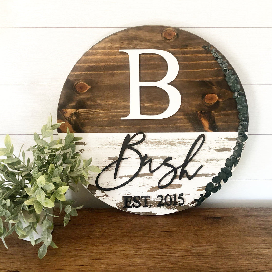 Round Personalized|Wood Sign|3D|Chippy Wood