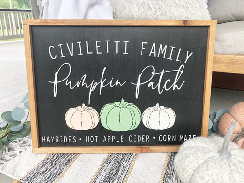 Personalized Pumpkin Patch 3D Wood Sign