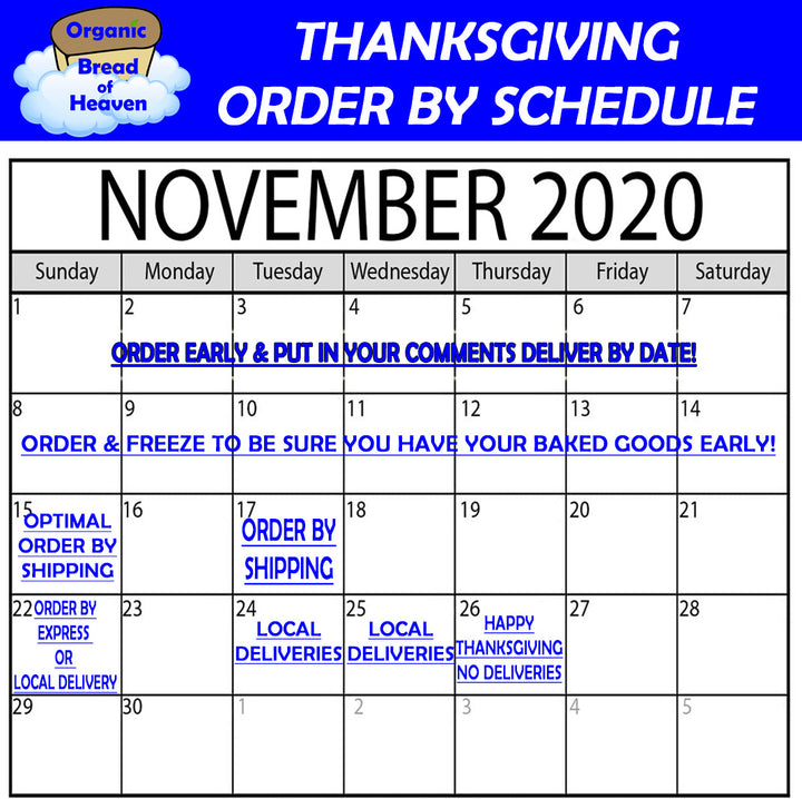 Thanksgiving Order By Schedule