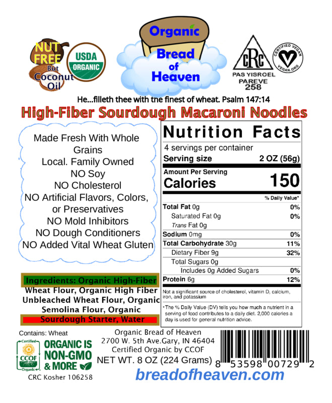 High-Fiber Sourdough Macaroni Elbow Noodles